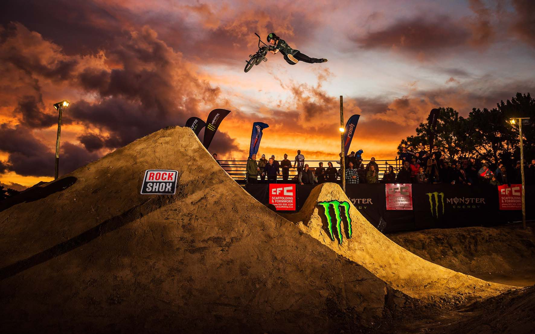 Mike Varga taking 2nd place in The Night Harvest 2019 BMX dirt jump contest