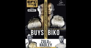 The country's premier MMA organisation returns to Cape Town this for EFC 78. With two mega headlining fights and nine more epic fights, this is a fight night not to be missed.