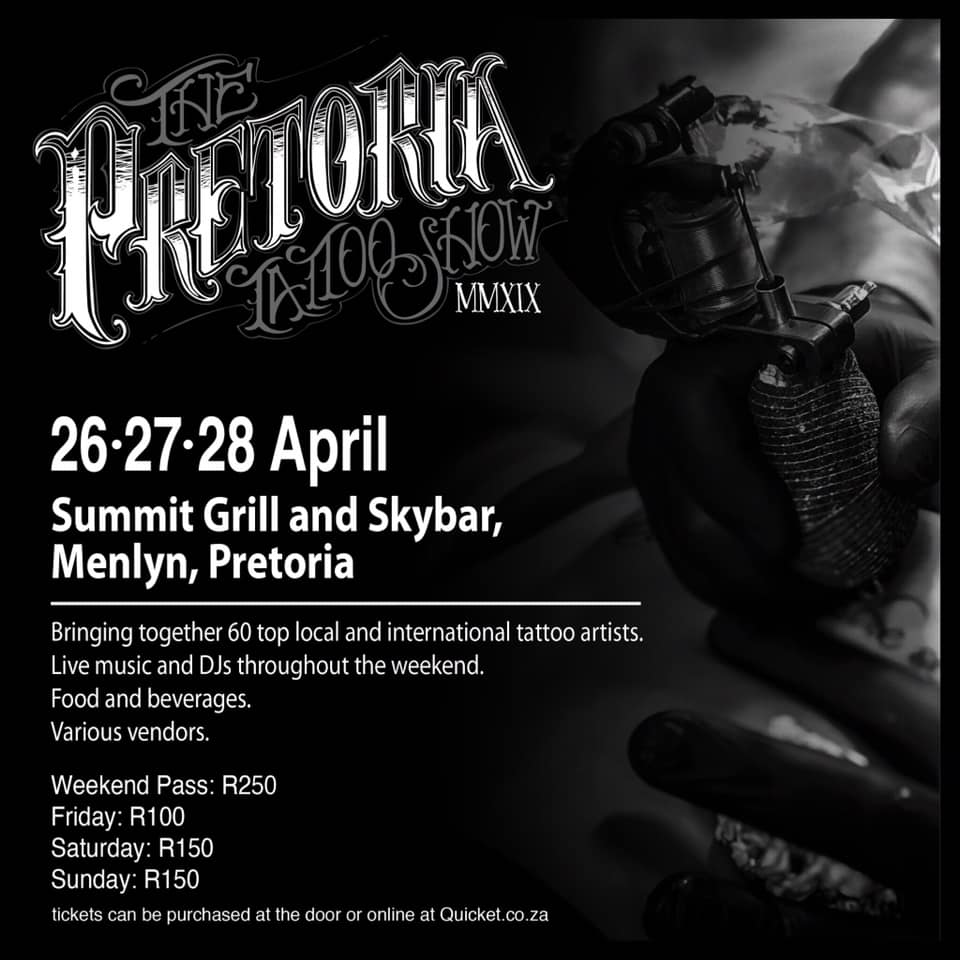 Get the details for the 2019 Pretoria Tattoo Show