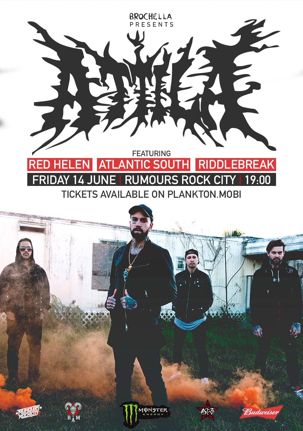 Brochella presents ATTILA live and loud for the first time in South Africa on Friday 14 June 2019 at Rumours Rock City in Johannesburg.