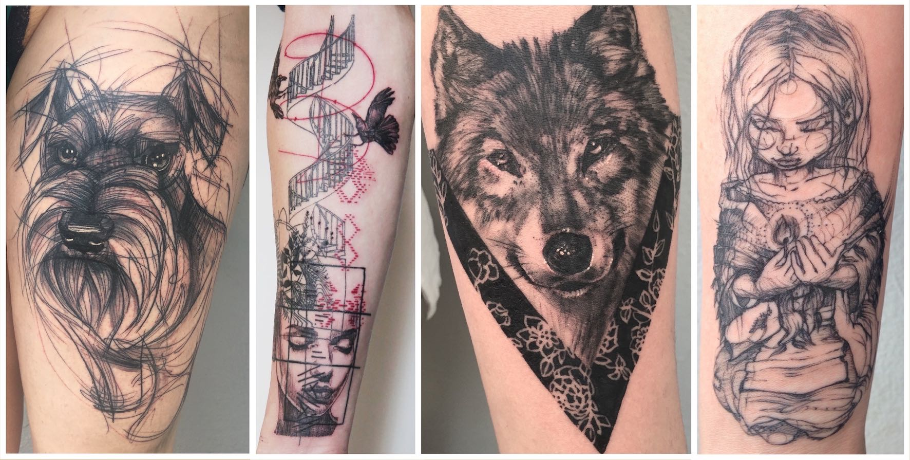 A selection of tattoos done by Lauren Peachfish