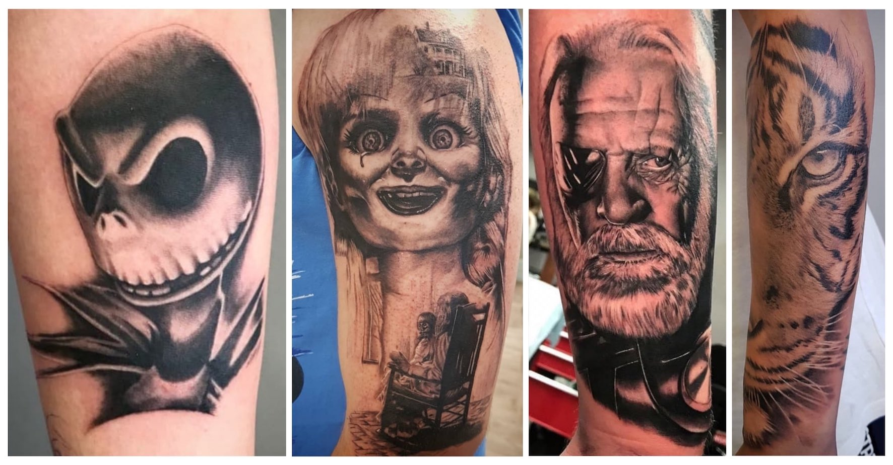 A selection of black and grey realism tattoos done by Tony Barcelos