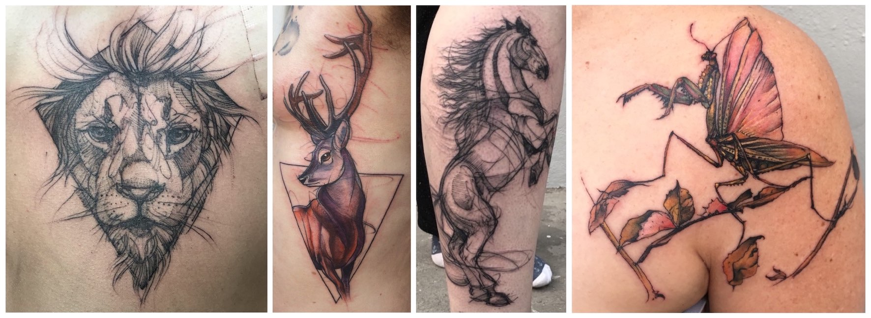 A selection of arty tattoos done by Lauren Peachfish