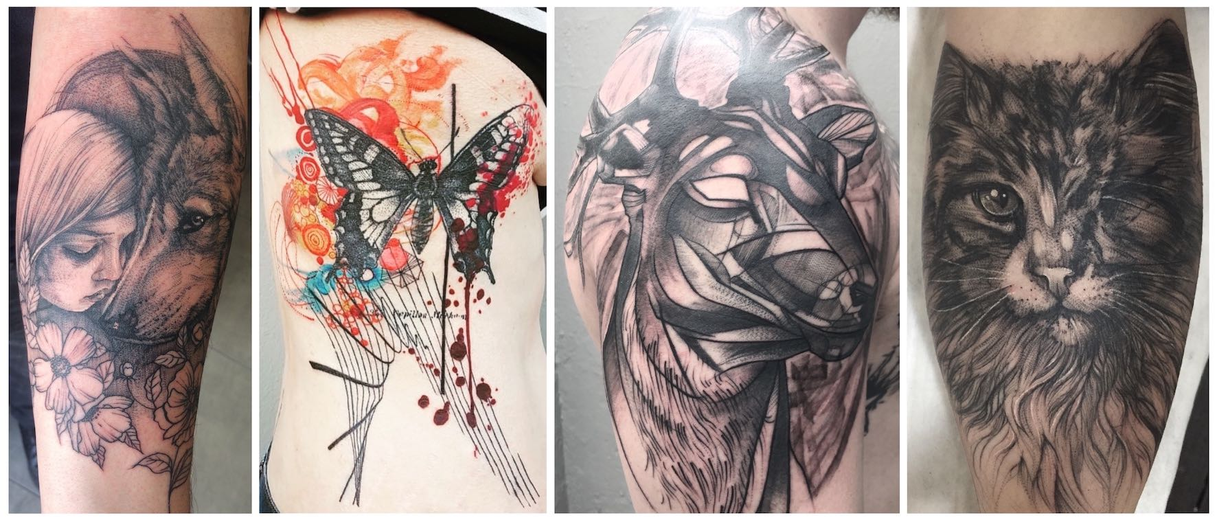 A selection of illustrative tattoos done by Lauren Peachfish