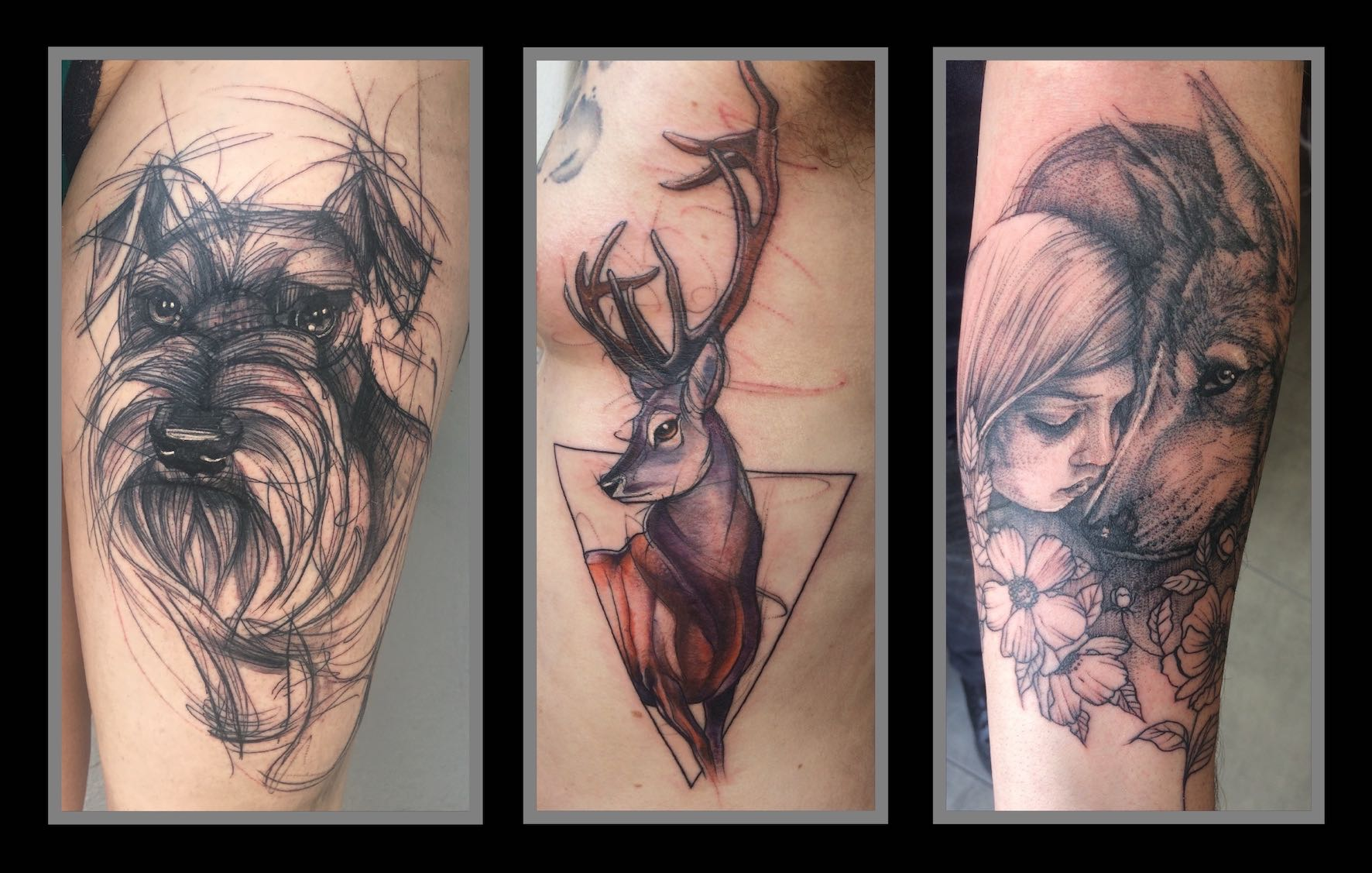 Illustrative tattoos done by Lauren Peachfish