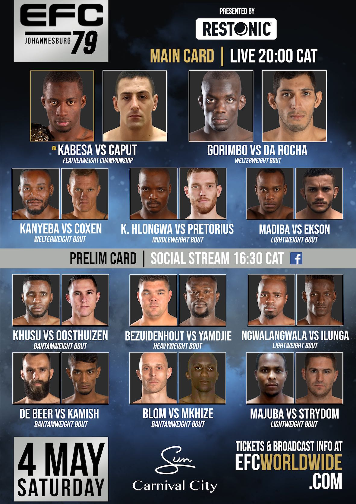 See the full fight card for EFC 79 featuring 11 exciting Mixed Martial Arts bouts