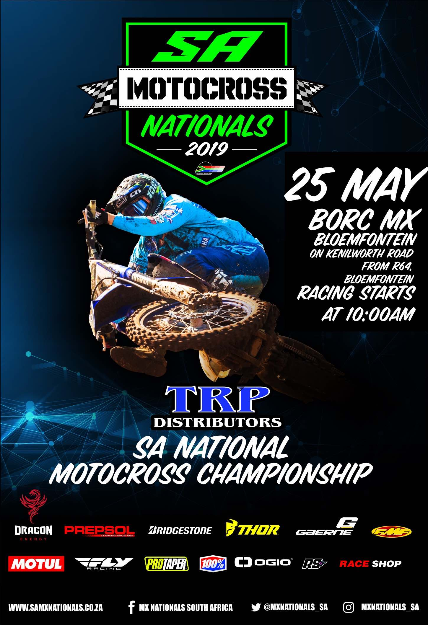 Round 3 of the 2019 TRP Distributors South African National Motocross Championship heads to the iconic Bloemfontein MX Track.
