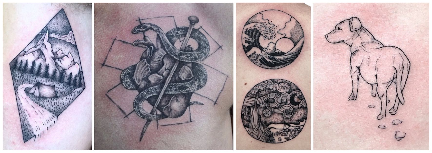 A selection of tattoos done by Shelby Downey