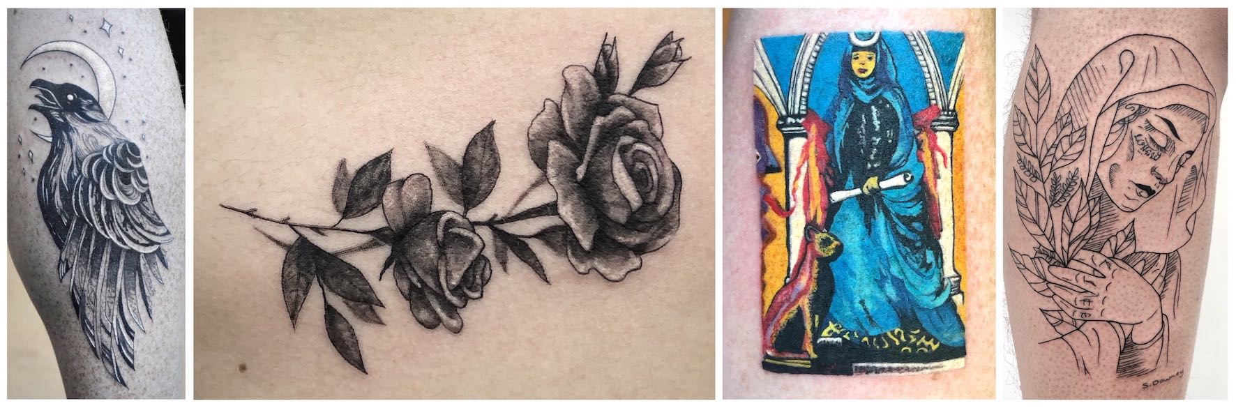 Detailed tattoos done by Shelby Downey