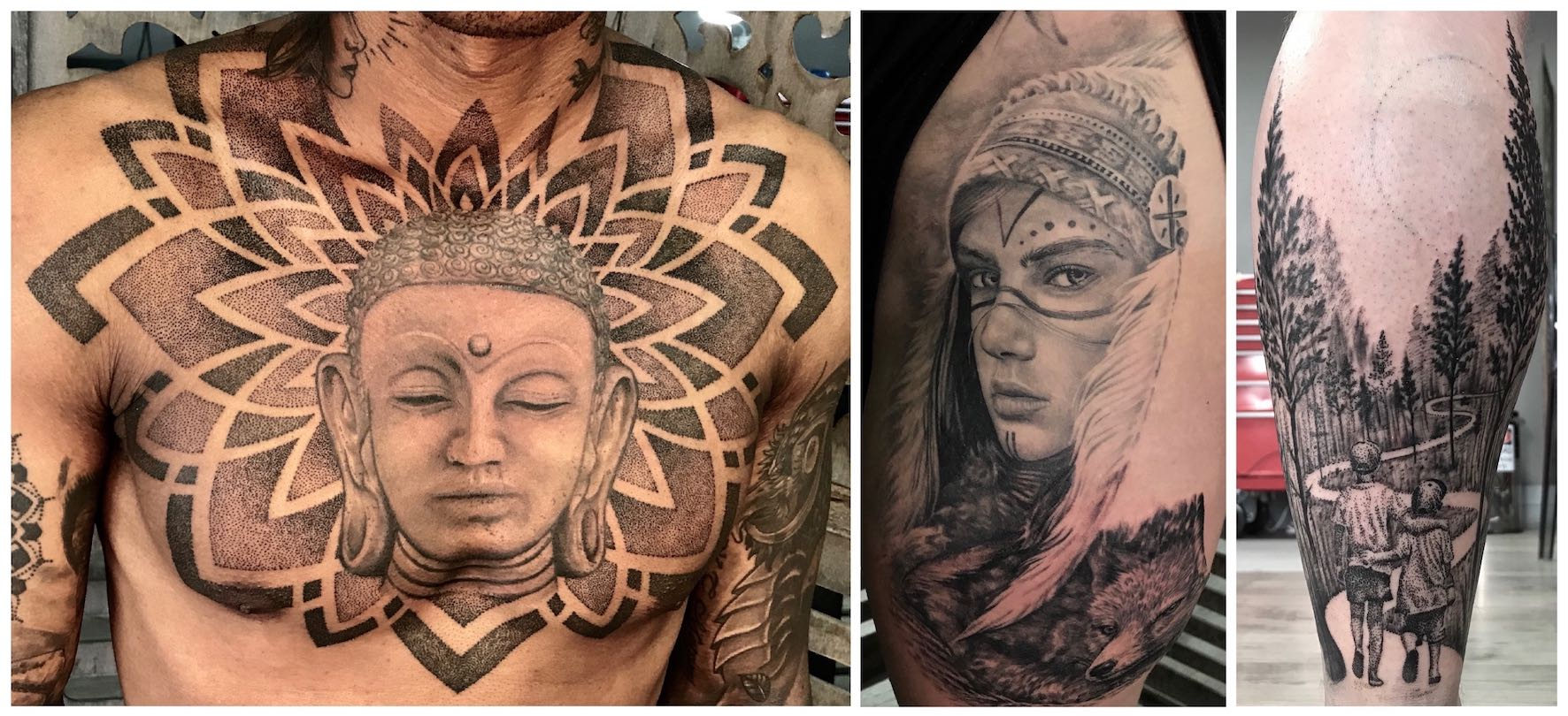 pattern and realism tattoo work done by John Martin Viljoen