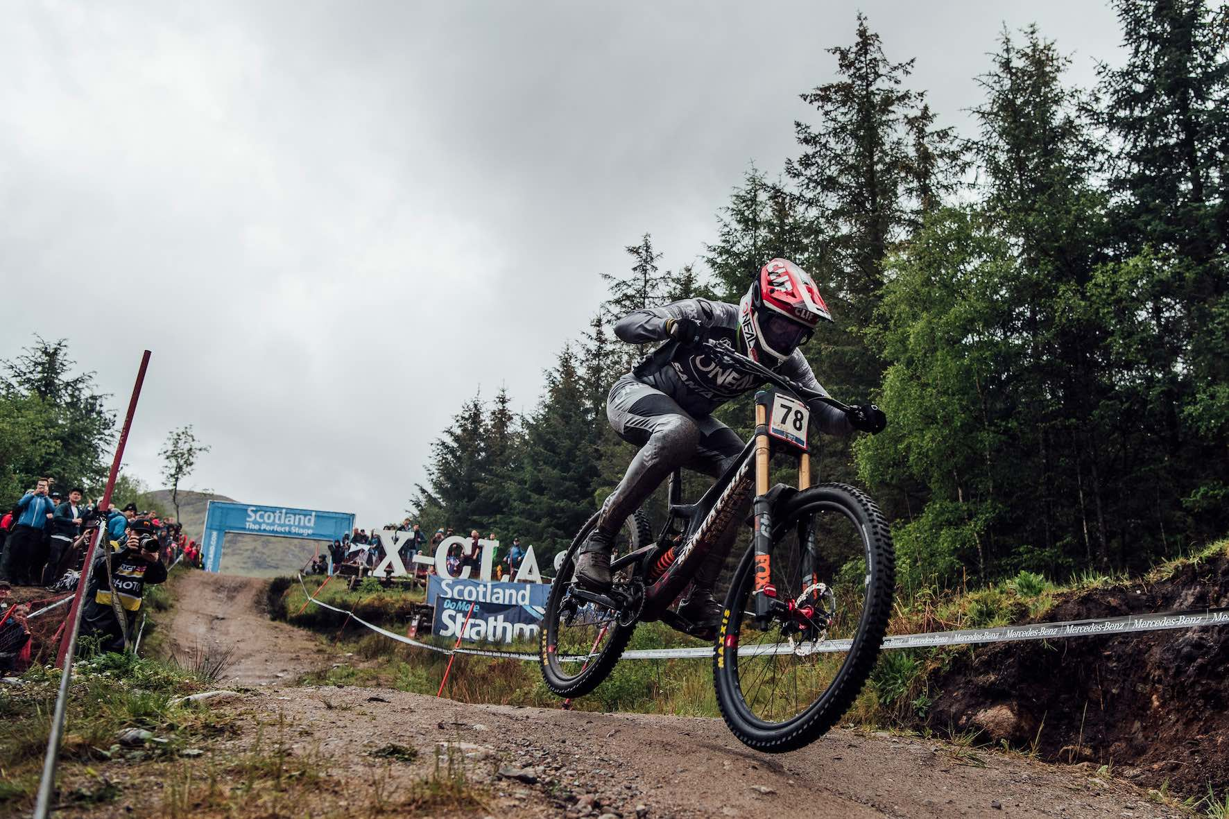 Greg Minnaar racing the 2019 Downhill MTB World Cup at Fort William in Scotland