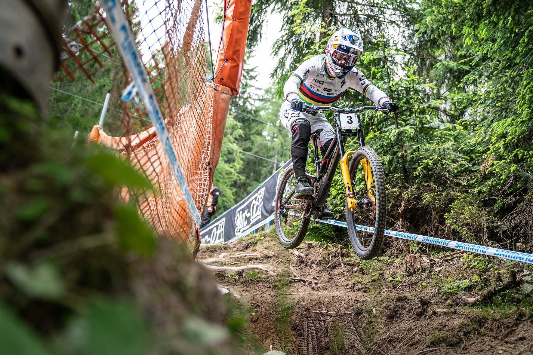 Loic Bruni racing the 2019 Downhill MTB World Cup in Leogang, Austria