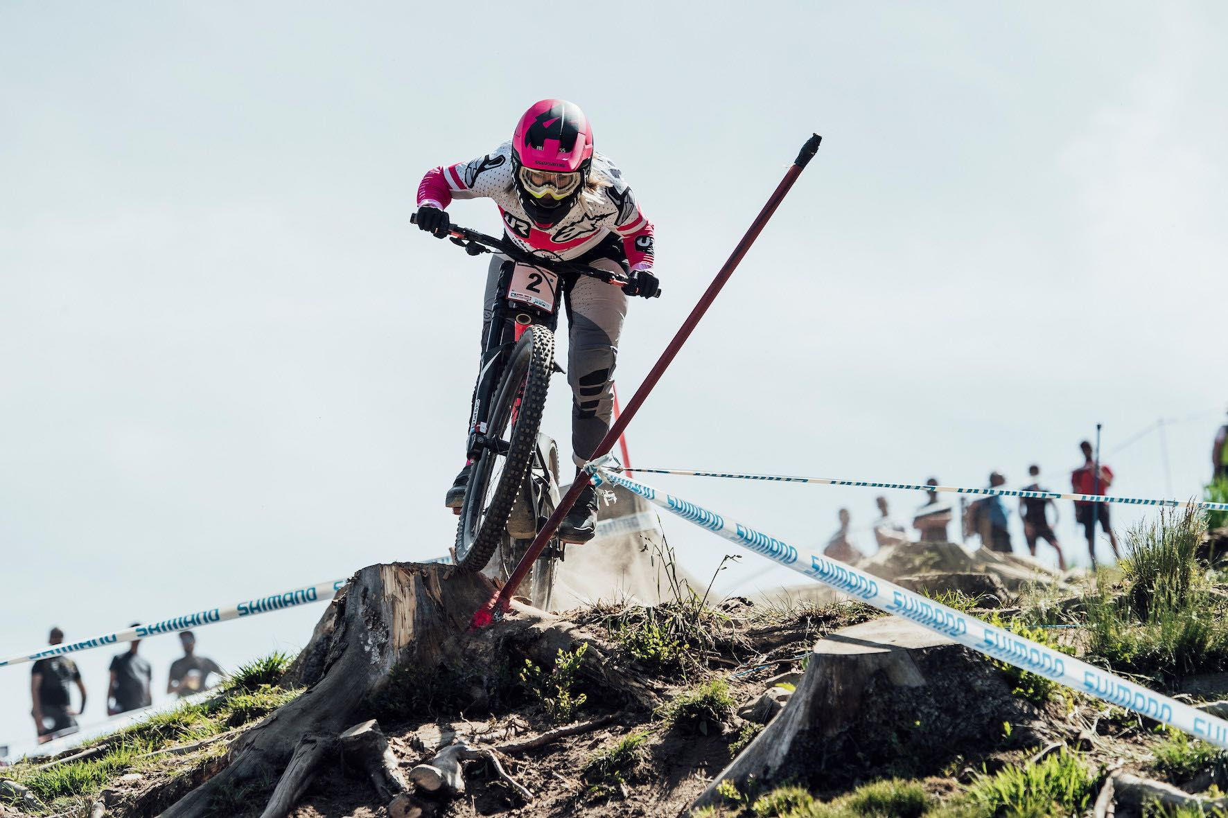 Tracey Hannah racing the 2019 Downhill MTB World Cup in Leogang, Austria