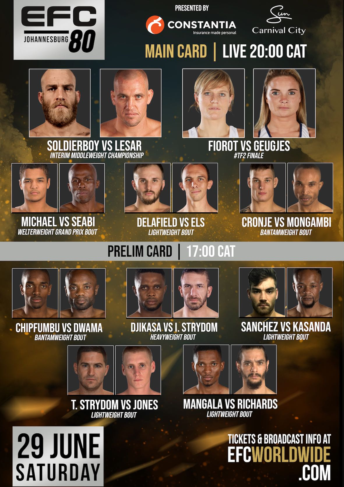 EFC 80 Fight Card featuring 10 exciting MMA bouts
