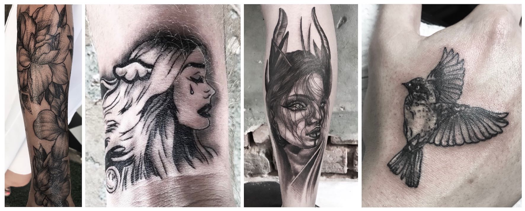 A selection of black and grey realism tattoos done by Shayleen Asher-Wood