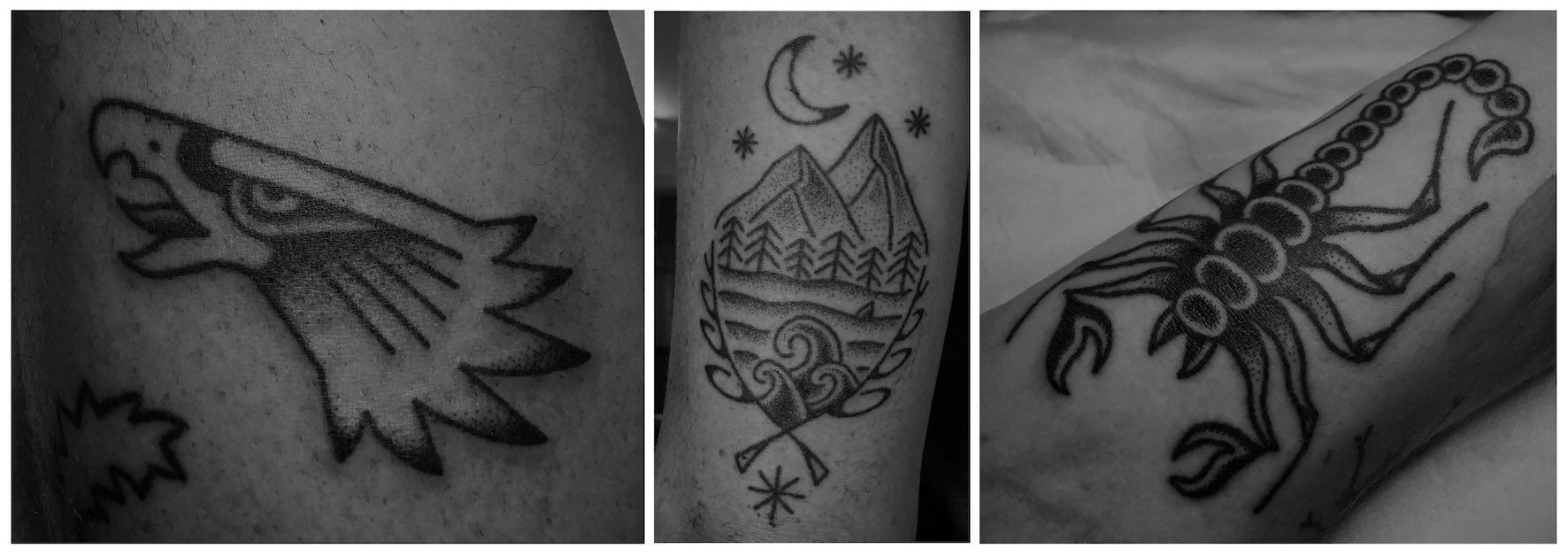 A selection of Hand Poke tattoos done by Tarzan