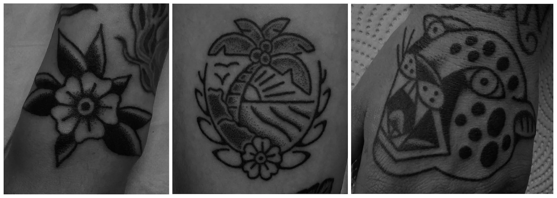 A selection of Hand Poked tattoos done by Tarzan