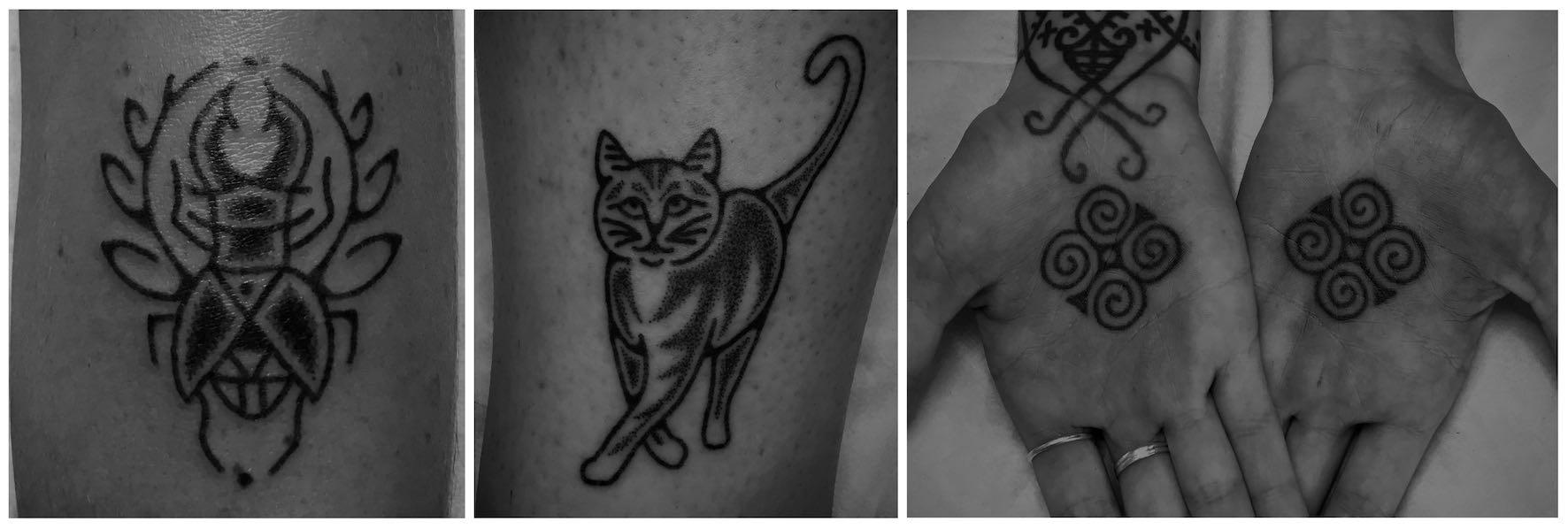 Hand Poke tattoos done by Tarzan