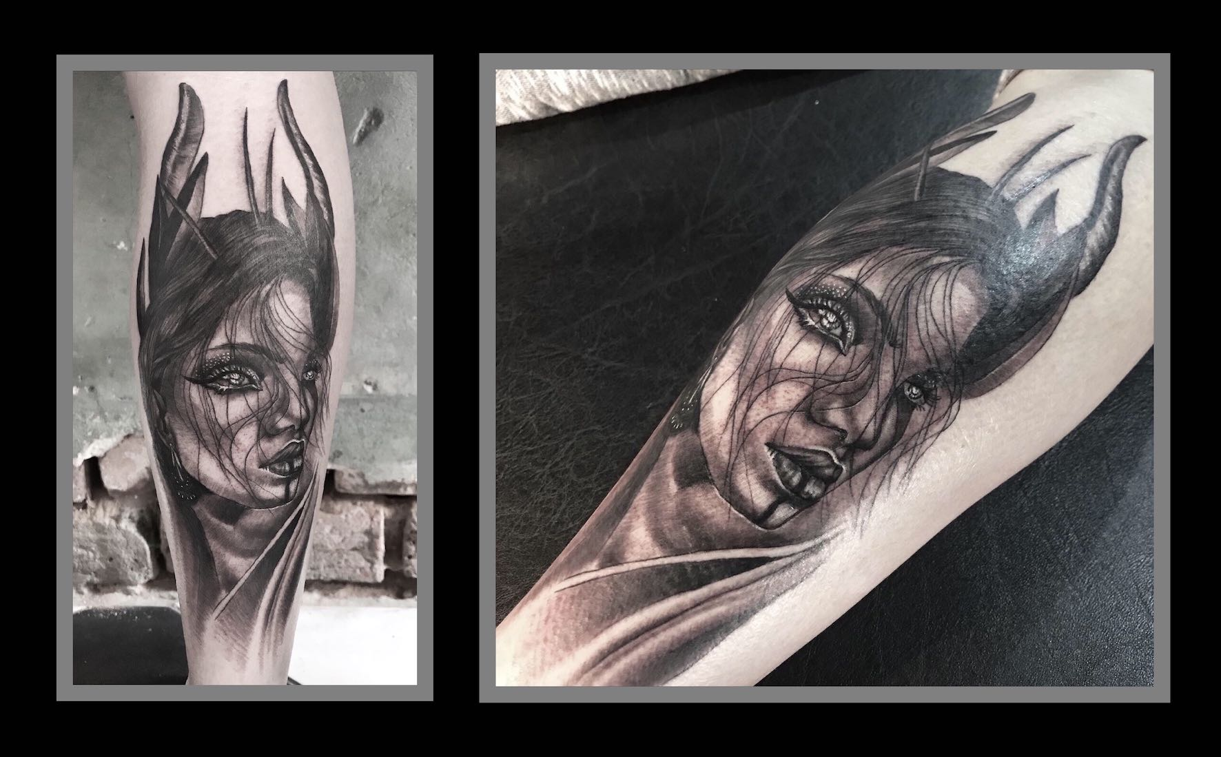 Black and Grey realism tattoo work done by Shayleen Asher-Wood