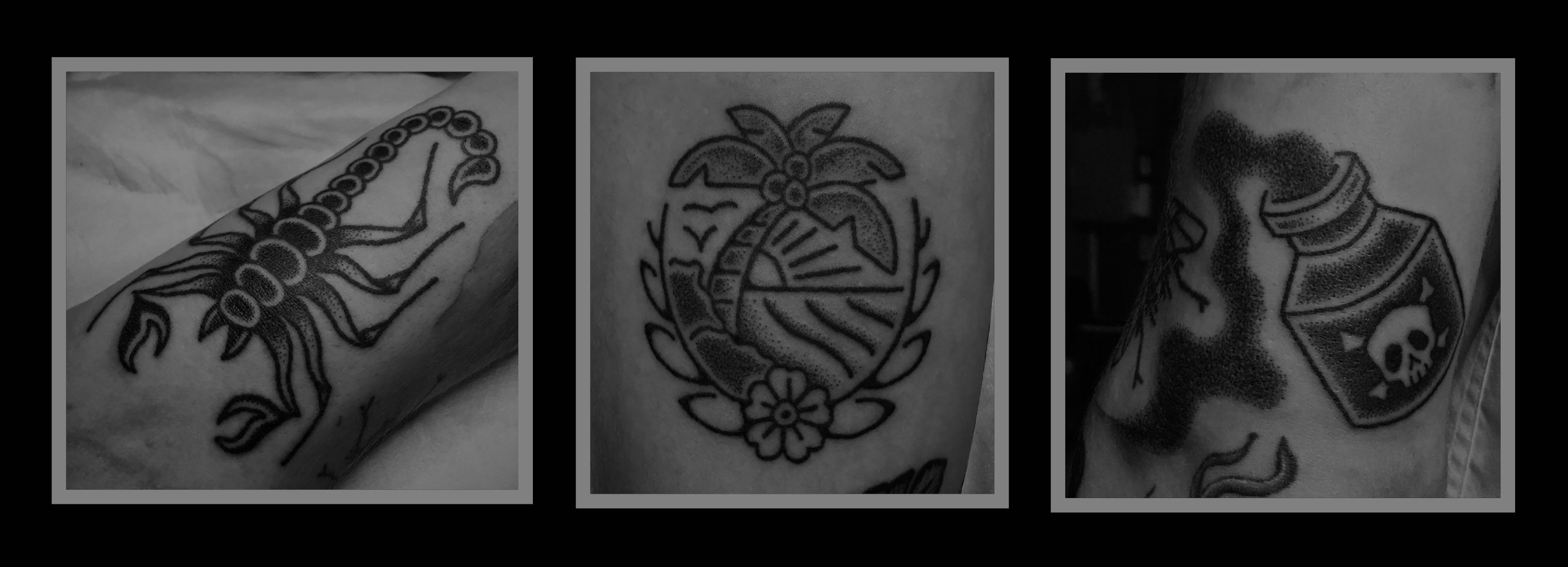 A few Hand Poked Tattoos created by Tarzan