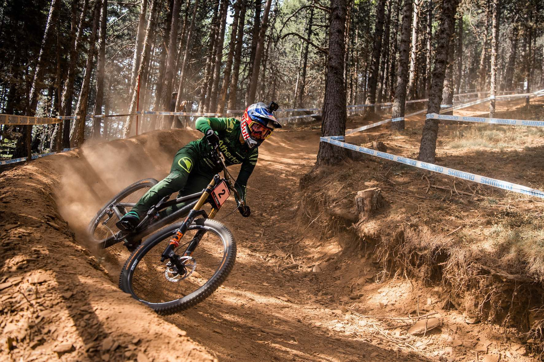 Rachel Atherton racing the 2019 UCI Downhill MTB World Cup in Vallnord, Andorra
