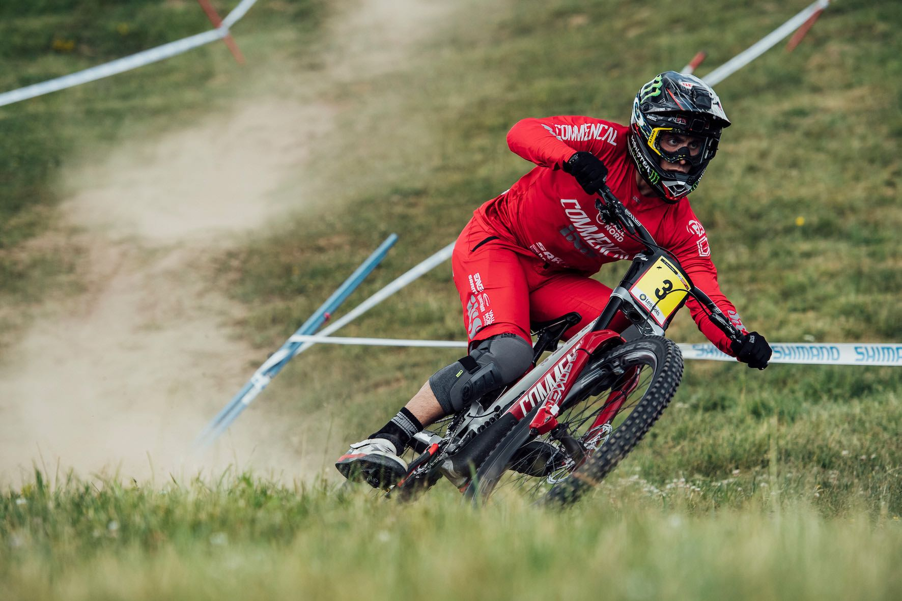 Amaury Pierron racing in the 2019 Les Gets Downhill MTB World Cup
