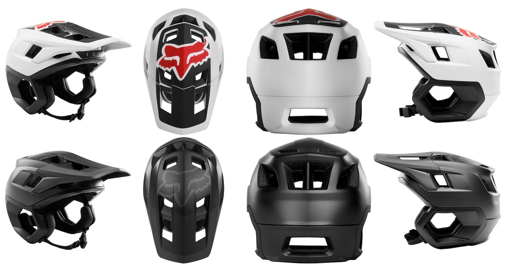 The Fox Dropframe Helmet is available in white and black