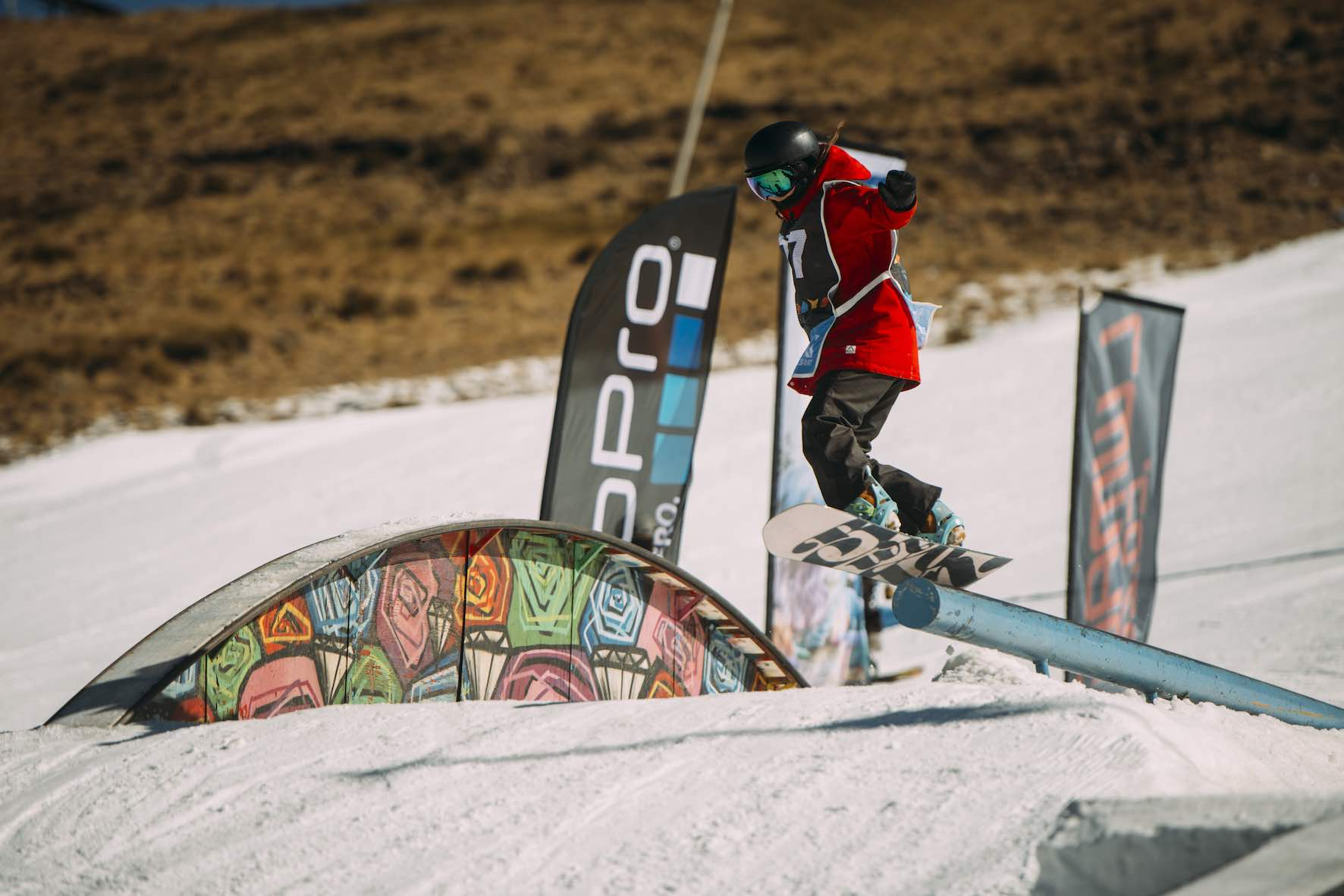 Amy Kawanishi snowboarding in the 2019 2019 Ultimate Ears Winter Whip Snowboard and Ski Festival