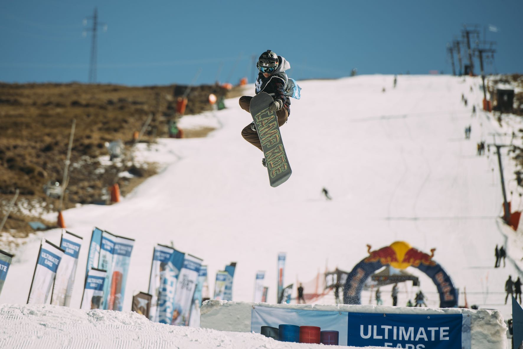 Kyle Benade snowboarding in the 2019 2019 Ultimate Ears Winter Whip Snowboard and Ski Festival