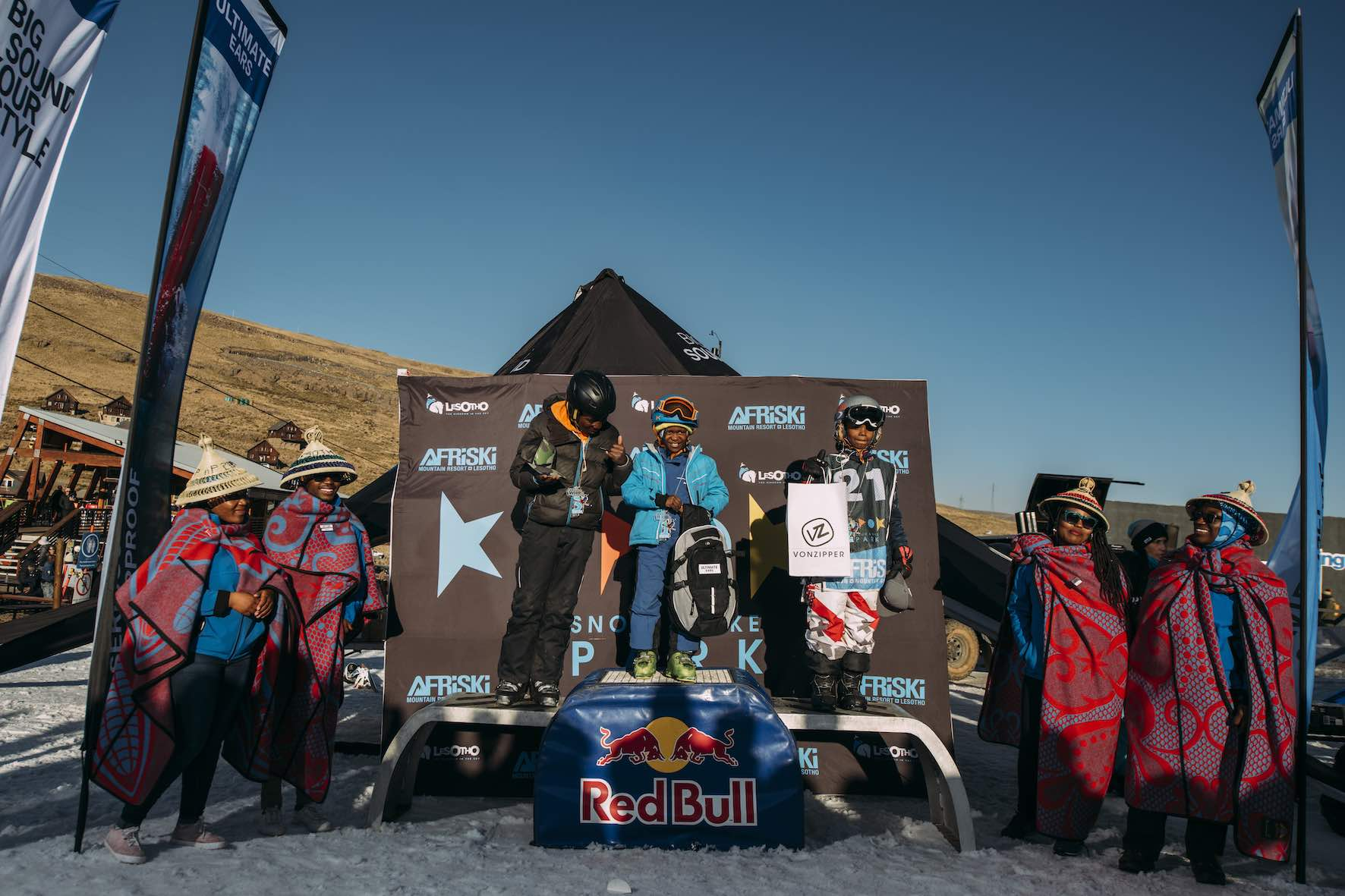 Junior Ski podium at the 2019 Ultimate Ears Winter Whip Snowboard and Ski Festival
