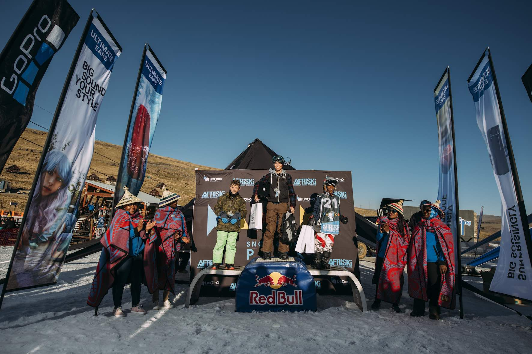 Juniors podium at the 2019 Ultimate Ears Winter Whip Snowboard and Ski Festival