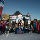 Open Men podium at the 2019 Ultimate Ears Winter Whip Snowboard and Ski Festival