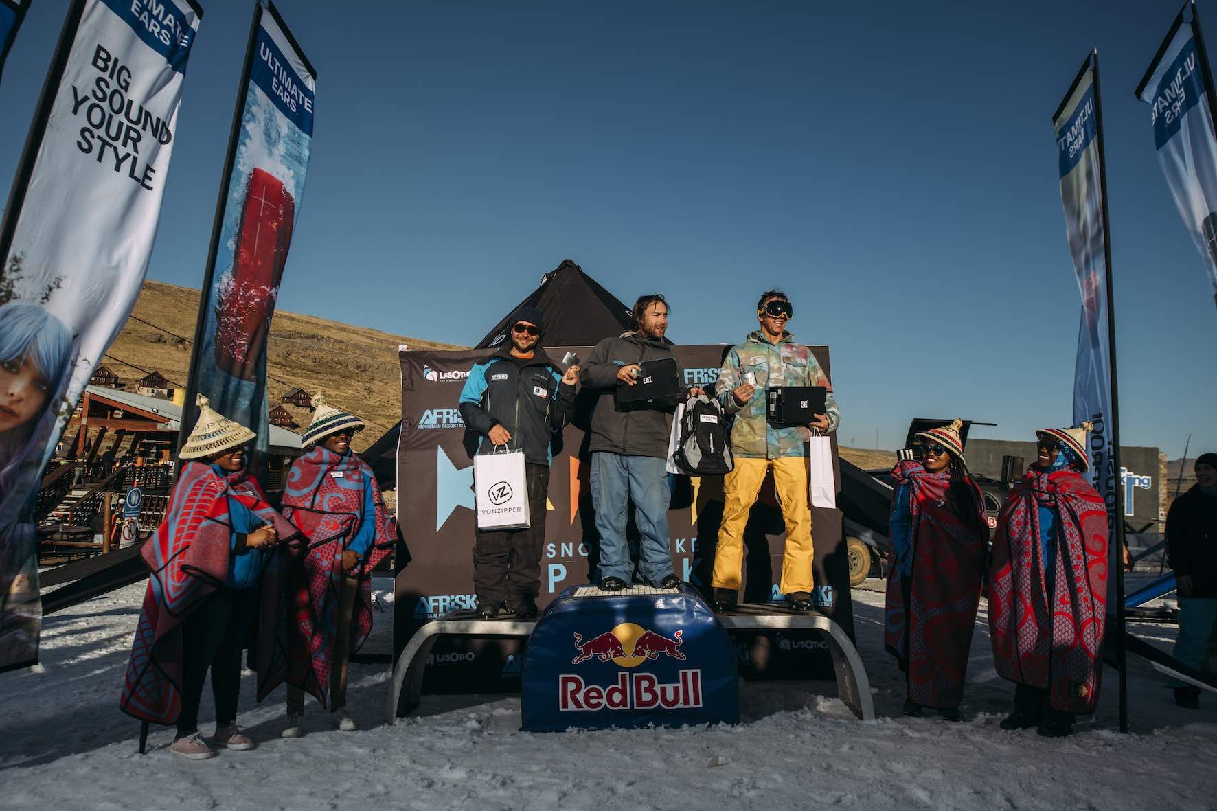 Legends podium at the 2019 Ultimate Ears Winter Whip Snowboard and Ski Festival