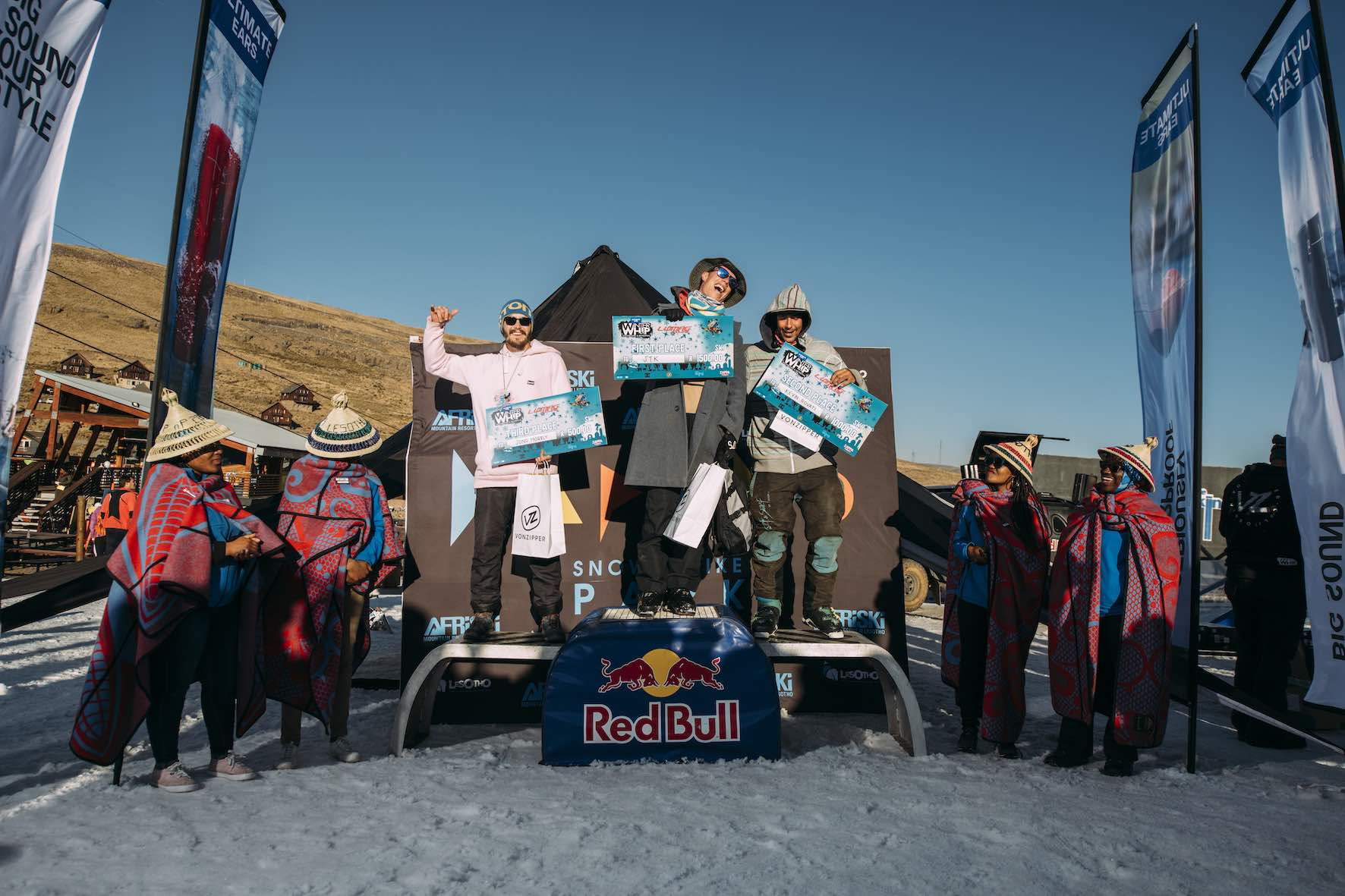 Ski podium at the 2019 Ultimate Ears Winter Whip Snowboard and Ski Festival