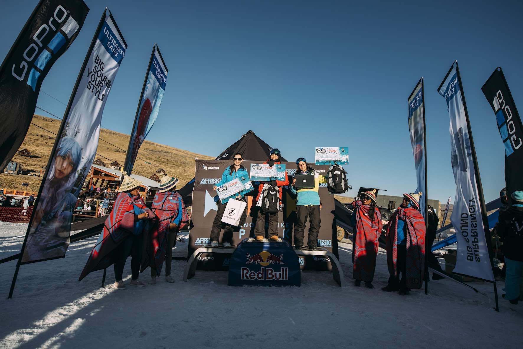 Ladies podium at the 2019 Ultimate Ears Winter Whip Snowboard and Ski Festival