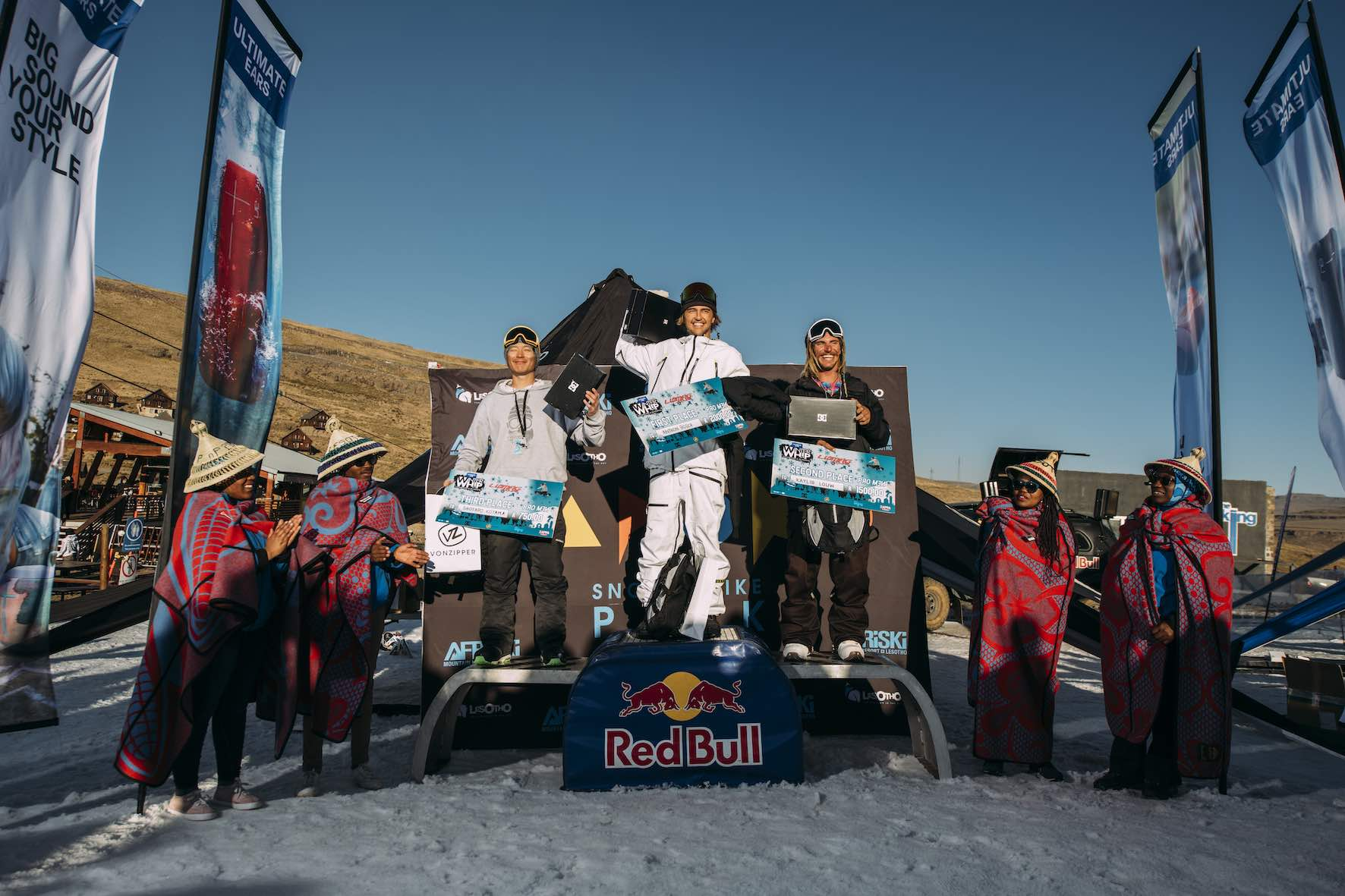 Pro Men podium at the 2019 Ultimate Ears Winter Whip Snowboard and Ski Festival