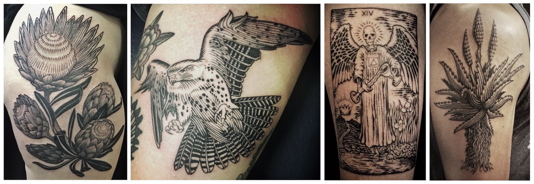 Etch style tattoos done by Tyler B. Murphy