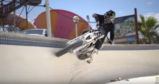 Watch Josh Hill rip his way through an abandoned waterpark in Palm Springs on his electric motocross bike in Urban Rider.
