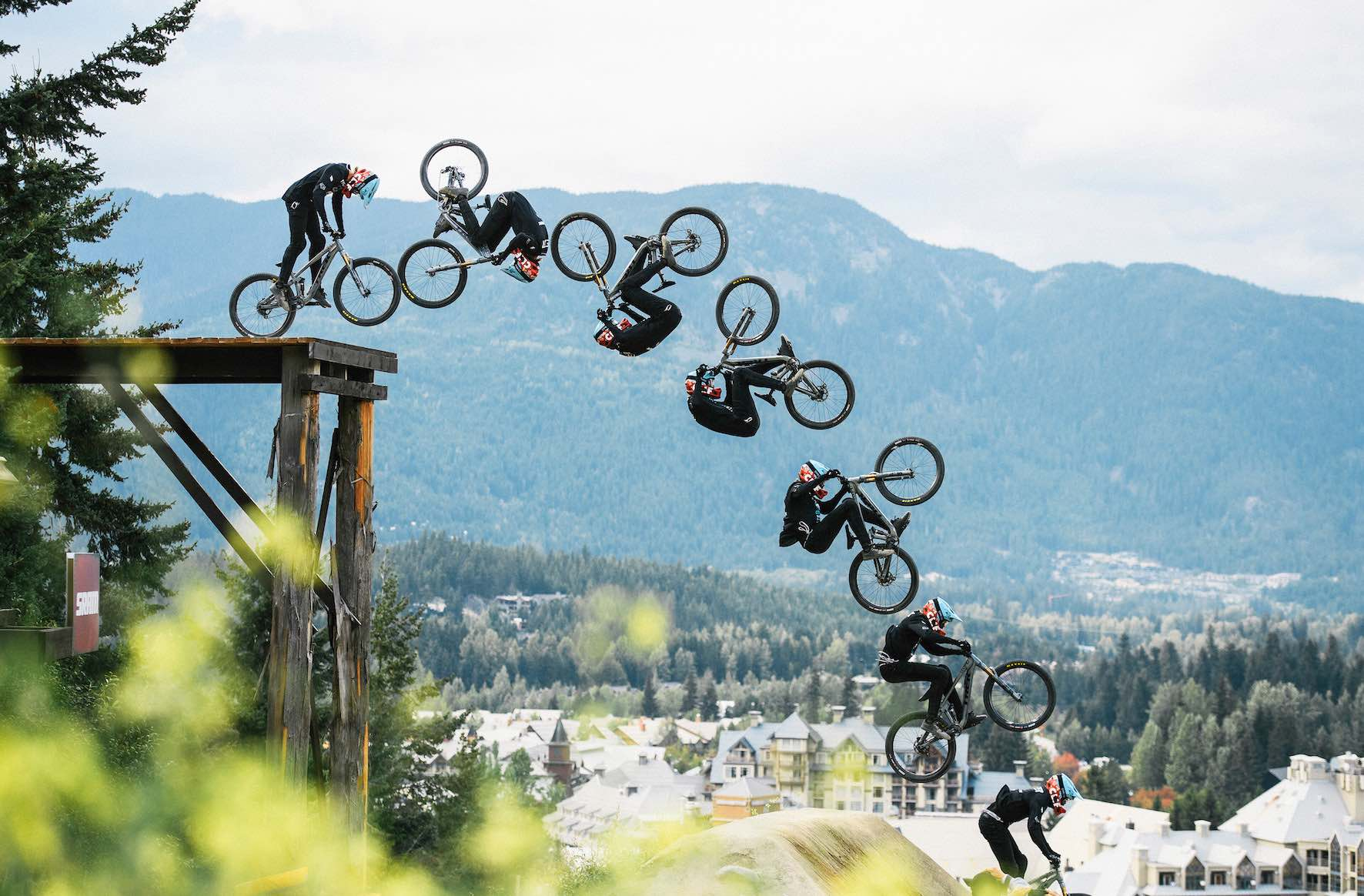 Brett Rheeder competing in the 2019 Crankworx Whistler Slopestyle MTB event