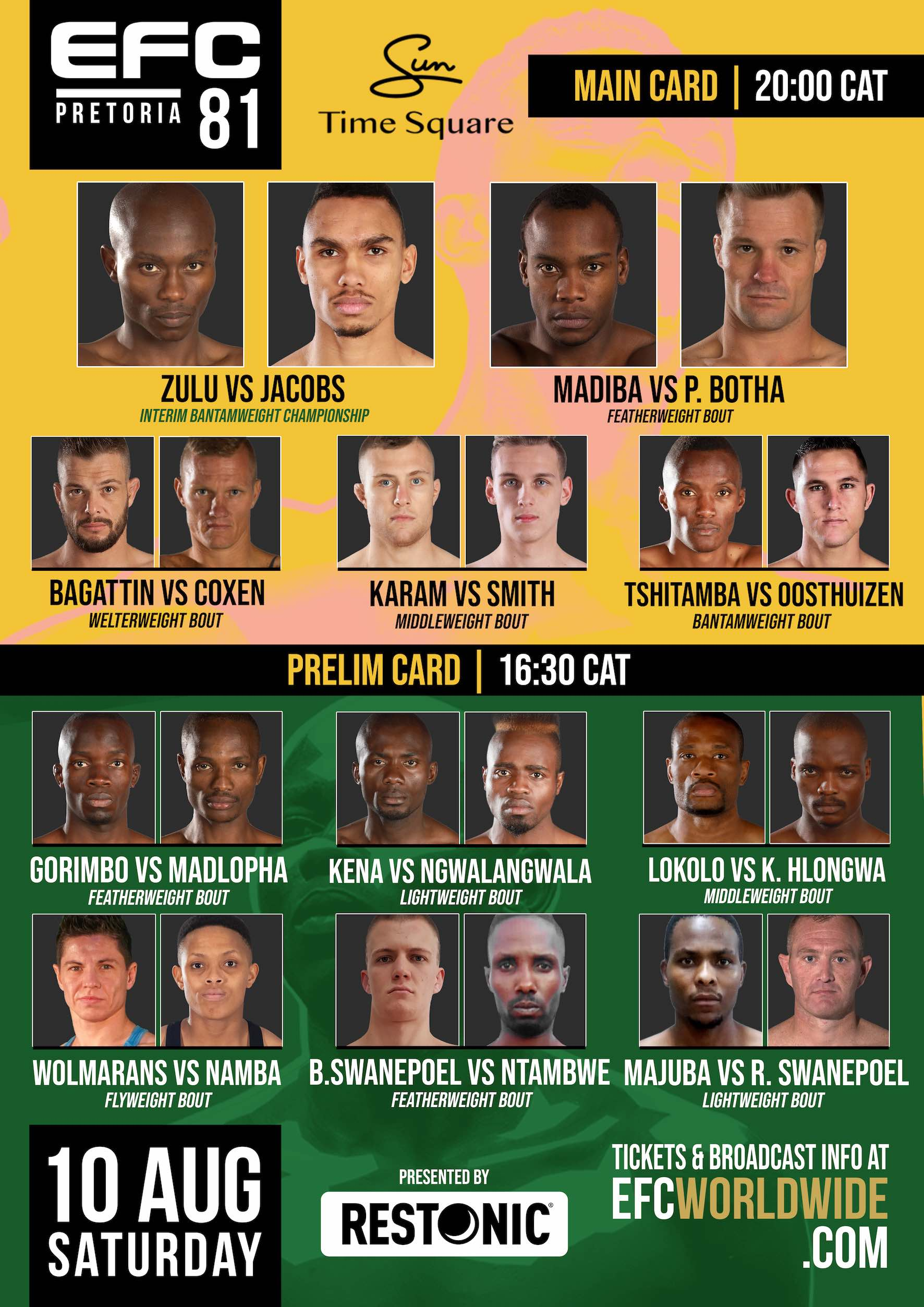 See the full Mixed Martial Arts Fight Card for EFC 81