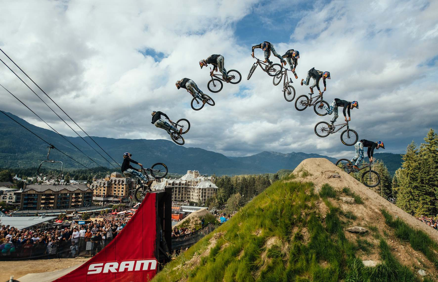 Emil Johansson competing in the 2019 Crankworx Whistler Slopestyle MTB event