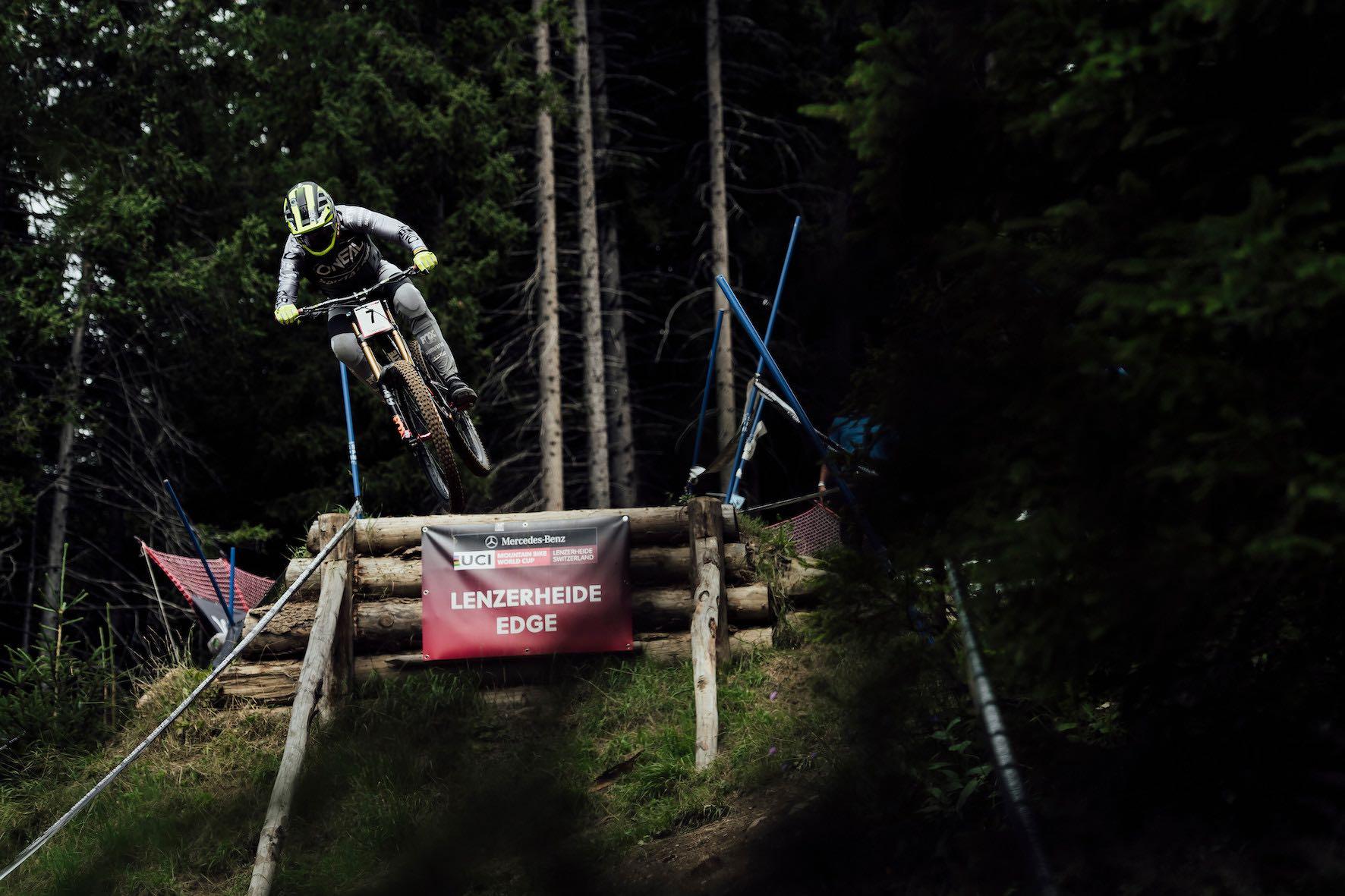 Greg Minnaar racing the 2019 Downhill MTB World Cup in Lenzerheide