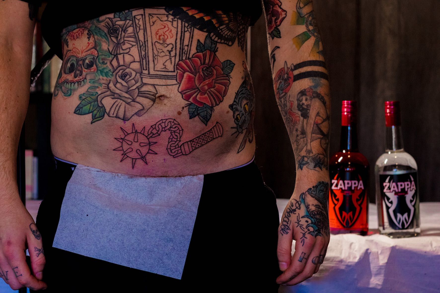 Black tattoo work done by Rebecca Claxton
