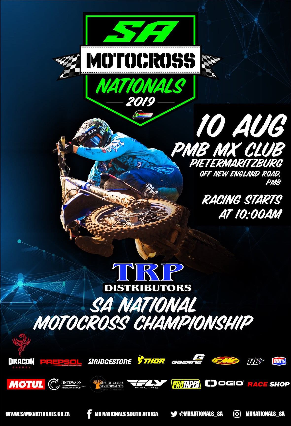 Details for Round 5 of the 2019TRP Distributors South African National Motocross Championshiptaking place at the PMB MX Club in Pietermaritzburg