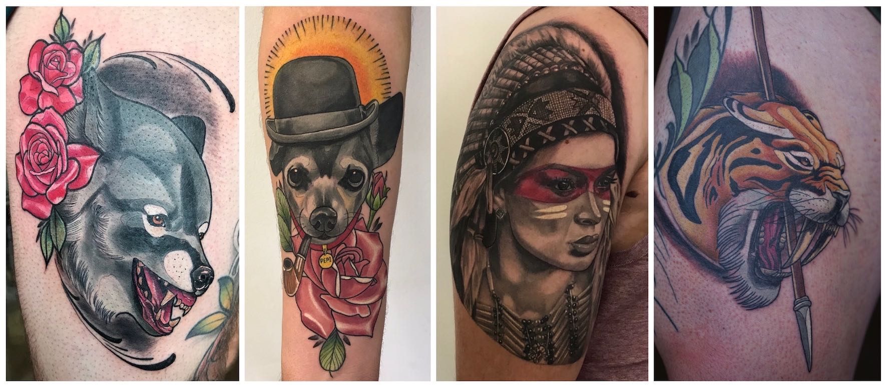 A selection of tattoos done by Ronald Jacobs