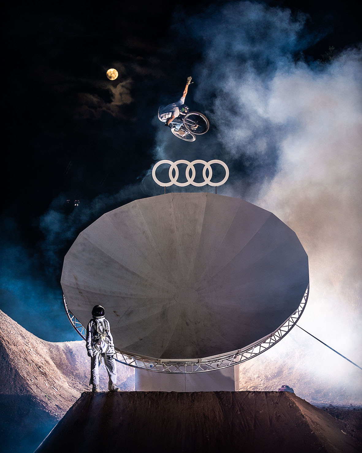 Max Fredriksson sending at during the Audi Nines night session