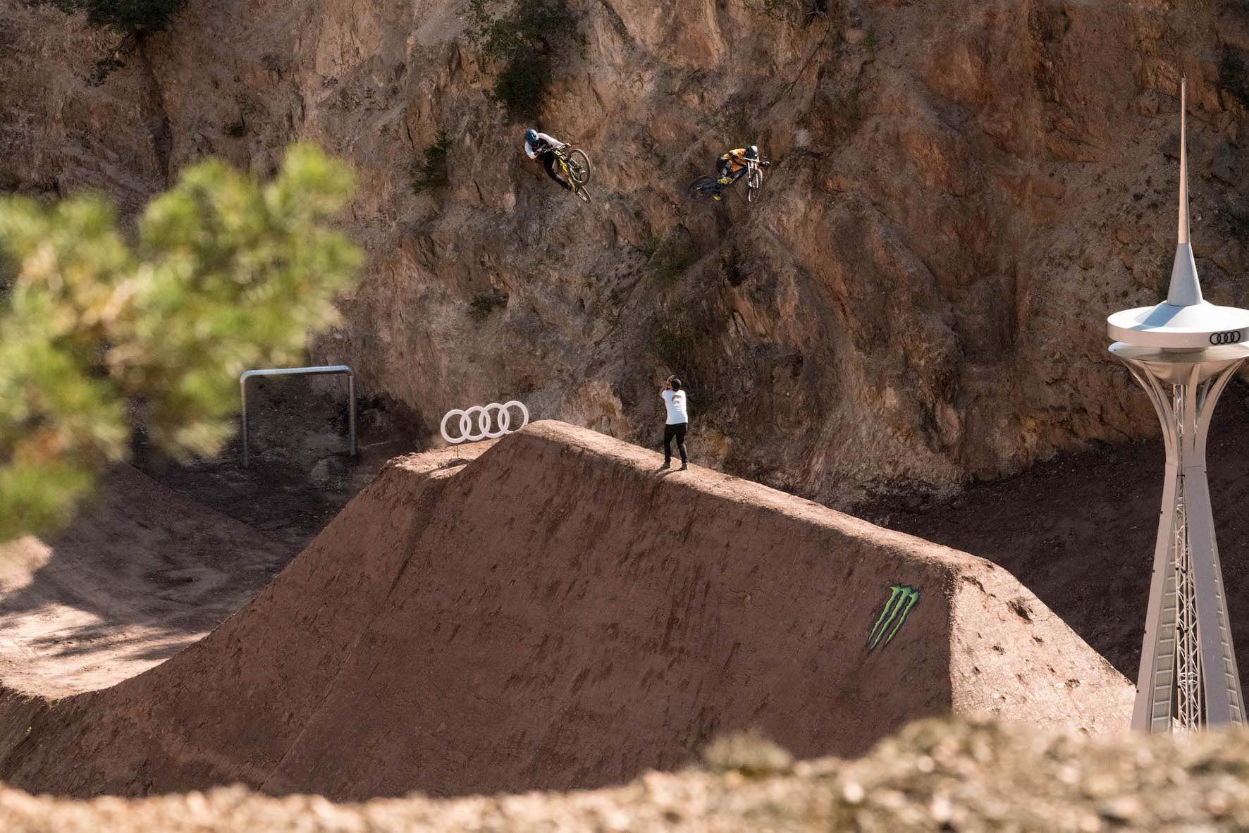 Tom Isted sending at with the other Audi Nines riders