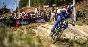Loic Bruni racing the 2019 UCI Downhill MTB World Championship in Mont-Sainte-Anne