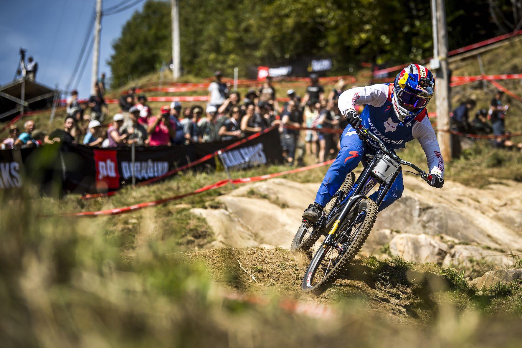 Loic Bruni racing the 2019 UCI Downhill MTB World Championship in Mont-Sainte-Ann