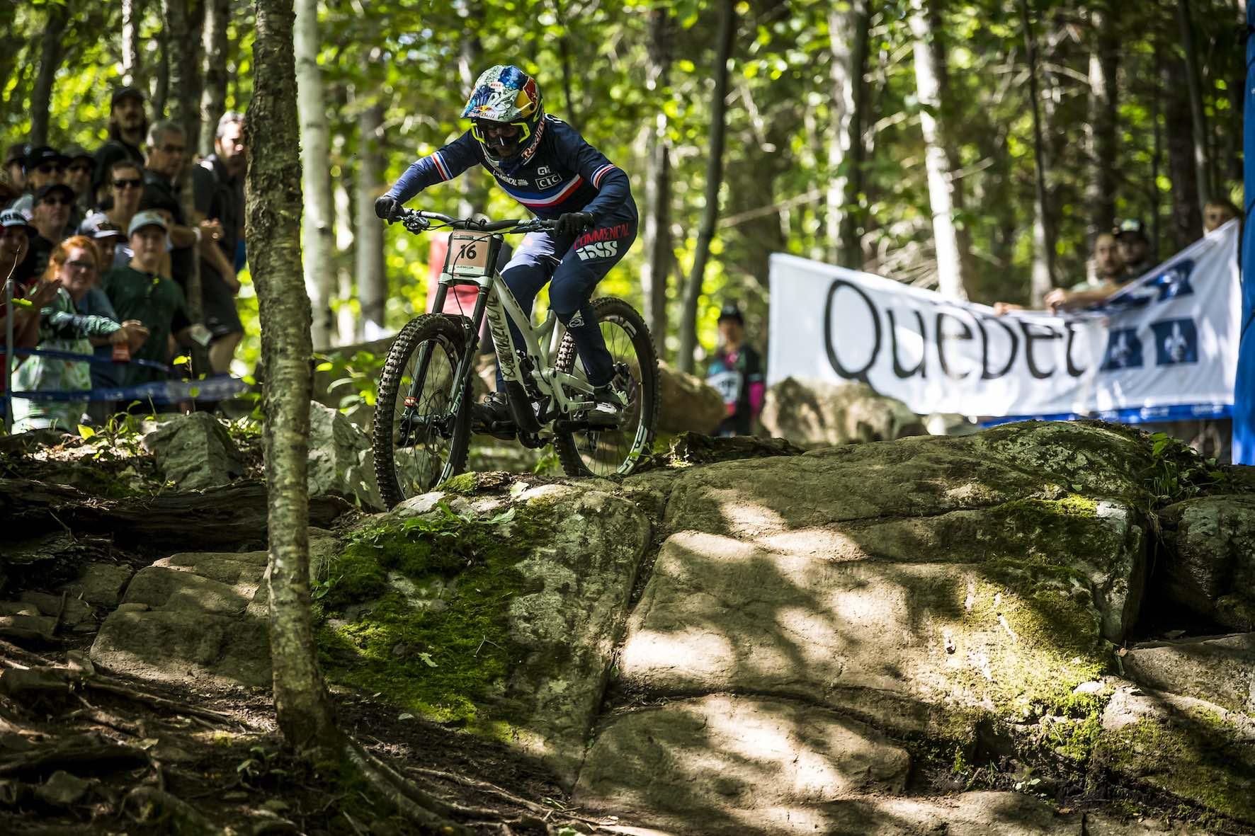 Myriam Nicole racing the 2019 UCI Downhill MTB World Championship in Mont-Sainte-Anne